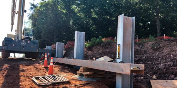Retaining wall construction for I-66 Beltway angle 2