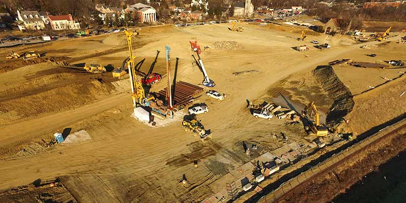 Aerial view of secant wall construction at Lake Ashburton