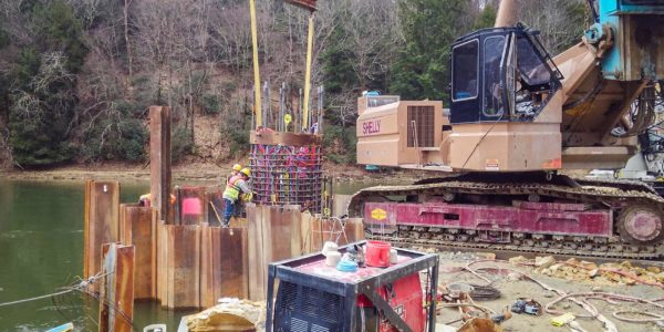Drilling a drilled shaft at Hunter's Station Bridge in Tionesta, Pennsylvania