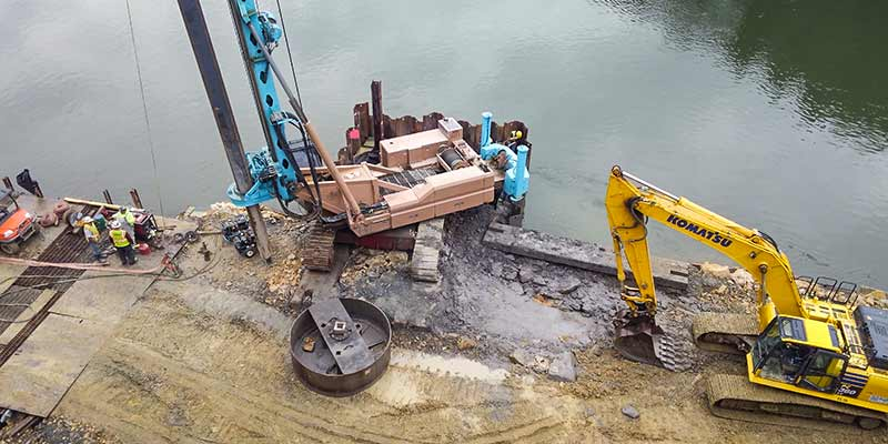 Aerial shot of a drilled shaft construction at Hunter's Station Bridge in Tionesta, Pennsylvania
