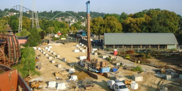 Drilling caissons for Kennywood's Steel Curtain Rollercoaster - aerial view
