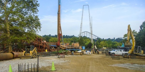 Drilling caissons for Kennywood's Steel Curtain Rollercoaster - ground view