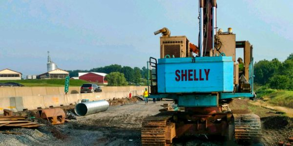 Shelly drill - noise wall - Northeast Extension Project