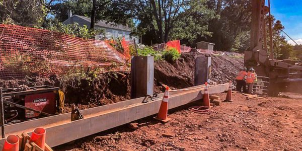 A retaining wall, under construction