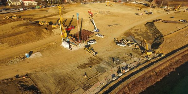 Aerial view of secant wall construction at Lake Ashburton