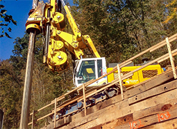 Drilling for retaining wall